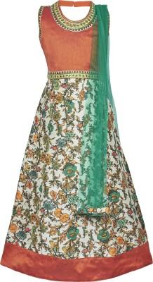 BownBee Printed Girl's Lehenga, Choli and Dupatta Set