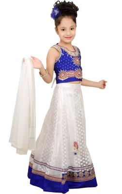Angel Creations Self Design Girl's Lehenga, Choli and Dupatta Set