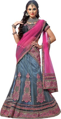 Sunrise International Embroidered Women's Lehenga, Choli and Dupatta Set