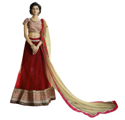 Kvsfab Embroidered Women's Lehenga, Choli and Dupatta Set