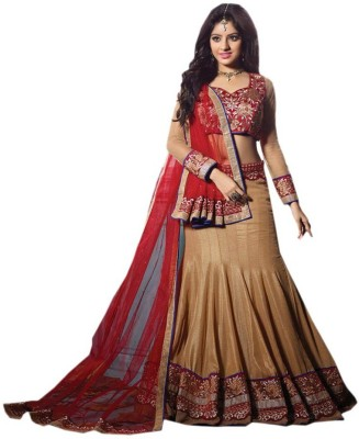 Shahlon Net Embroidered Semi-stitched Lehenga Choli Material