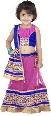 Nut Khut Embellished Girl,s Lehenga, Choli and Dupatta Set
