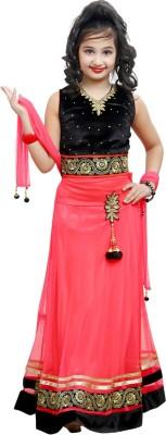 Ishika Garments Self Design Girl's Lehenga, Choli and Dupatta Set