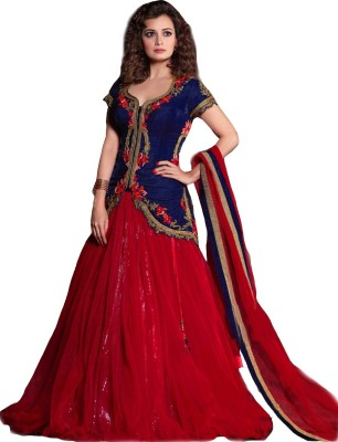 Isha Enterprise Embroidered Women's Lehenga, Choli and Dupatta Set