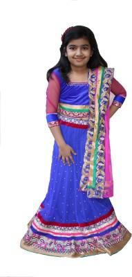 Ritvee Embellished Girls Lehenga, Choli and Dupatta Set