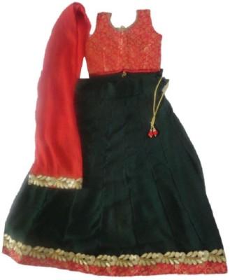 Meeshka Self Design Girl's Lehenga, Choli and Dupatta Set