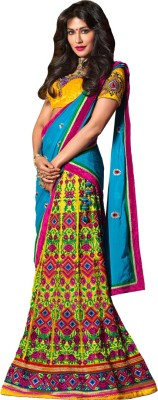 Resham Fabrics Embroidered, Embellished Women's Lehenga, Choli and Dupatta Set
