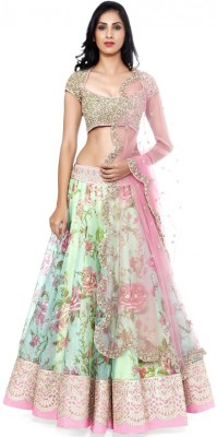 Shreeji Enterprise Net Embroidered Semi-stitched Lehenga Choli Material
