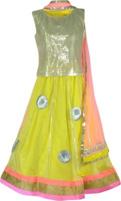 PSPEACHES Solid, Self Design Girl's Lehenga, Choli and Dupatta Set