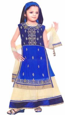 HEY BABY Embroidered Girls Lehenga, Choli and Dupatta Set