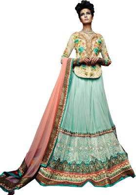 Kataria Fabrics Self Design, Embroidered Women's Lehenga, Choli and Dupatta Set