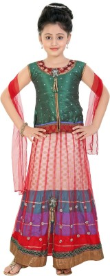 Be 13 Self Design Girl's Lehenga, Choli and Dupatta Set