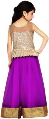 Unique Fashion Self Design Girl's Lehenga, Choli and Dupatta Set