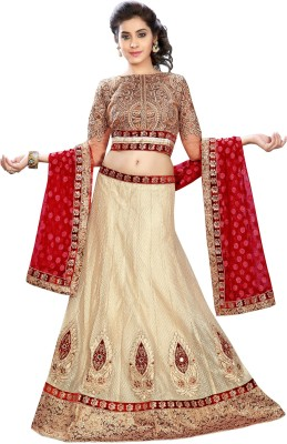 Kataria Fabrics Self Design Women's Lehenga, Choli and Dupatta Set