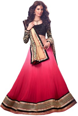 Resham Fabrics Embroidered Women's Lehenga, Choli and Dupatta Set