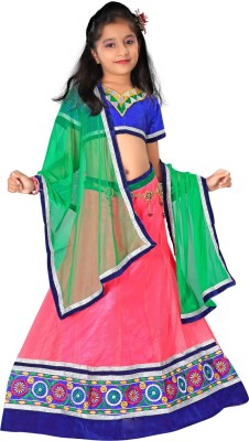 Maaike Embroidered Girl's Lehenga, Choli and Dupatta Set