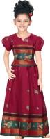 Bhartiya Paridhan Girls Lehenga Choli Ethnic Wear Self Design Lehenga Choli(Red, Pack of 1)