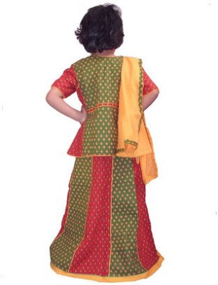 Buyclues Printed Girl,s Lehenga, Choli and Dupatta Set