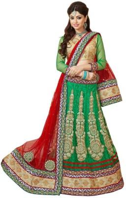 T Zone Fashion Net Embroidered Lehenga Choli Material(Un-stitched)