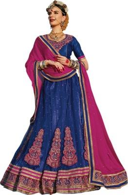 Shahlon Embroidered Women's Lehenga, Choli and Dupatta Set
