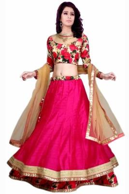 Greenvilla Designs Embroidered Women's Lehenga, Choli and Dupatta Set