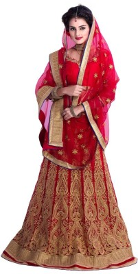 Shreeji Enterprise Rayon Embroidered Semi-stitched Lehenga Choli Material