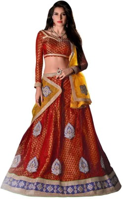 Shyam Fab Self Design Women's Lehenga, Choli and Dupatta Set