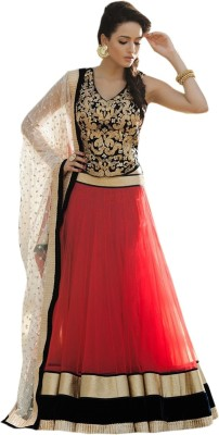 Khantil Net Embroidered Semi-stitched Lehenga Choli Material