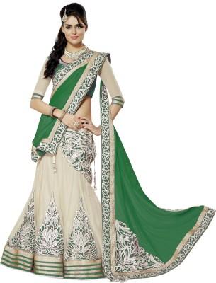 Pihu Fashion Embriodered Lehenga Saree Handloom Satin Sari