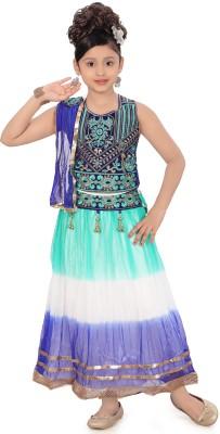 Sini Mini Self Design Girl's Lehenga, Choli and Dupatta Set