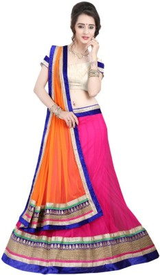 Fashion Galleria Solid Women's Lehenga, Choli and Dupatta Set