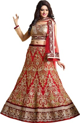 Fab Palace Embroidered Women's Lehenga, Choli and Dupatta Set