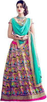 Fabfirki Fashion Hub Printed Women's Lehenga, Choli and Dupatta Set