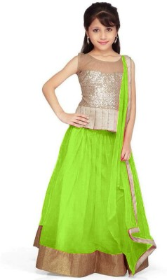 Pakiza Design Self Design Girl's Lehenga Choli