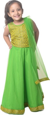 Nitara Self Design Girl's Lehenga, Choli and Dupatta Set