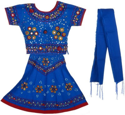 JBN Creation Embroidered Baby Girl's Lehenga, Choli and Dupatta Set