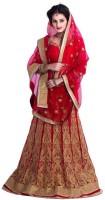 Nj Fabric Chaniya, Ghagra Cholis - NJ Fabric Embroidered Women's Lehenga, Choli and Dupatta Set(Stitched)