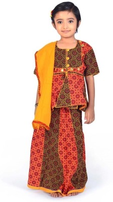 Great Art Printed Girl's Lehenga, Choli and Dupatta Set