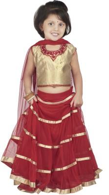 BownBee Embroidered Girl's Lehenga, Choli and Dupatta Set