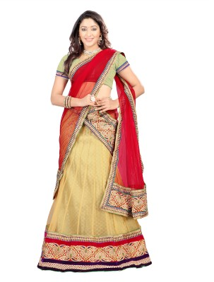 Silkbazar Embroidered Womens Lehenga, Choli and Dupatta Set