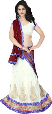 Prachi Silk Mills Embroidered, Embellished Women's Lehenga, Choli and Dupatta Set