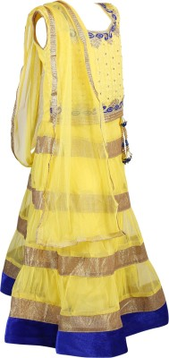 Crazeis Self Design Girl's Lehenga, Choli and Dupatta Set