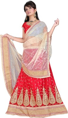 HSFS Embroidered Women's Lehenga, Choli and Dupatta Set