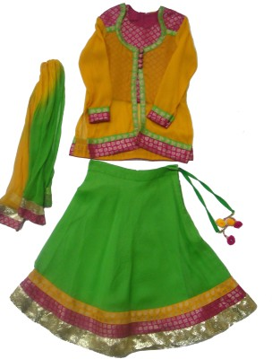 Exclusive from Jaipur Solid Girl's Ghagra Choli