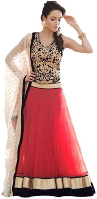 Maniya Creation Net Embroidered Semi-stitched Lehenga Choli Material
