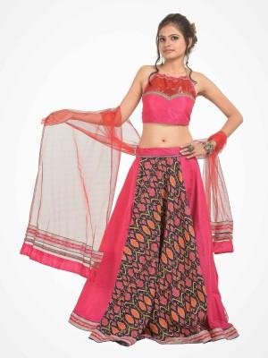 RoopRahasya Solid, Floral Print Women's Lehenga, Choli and Dupatta Set