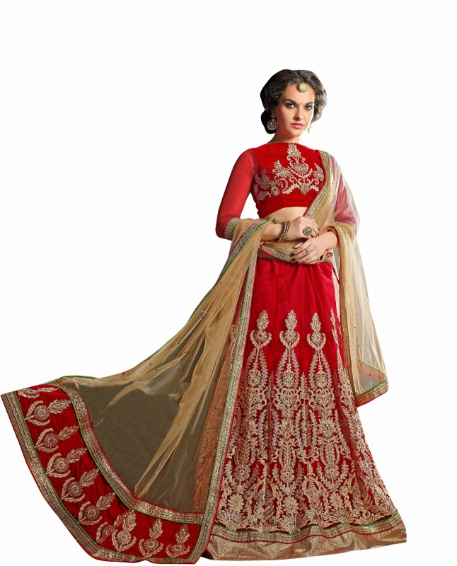 Aasvaa Embroidered Women's Lehenga, Choli and Dupatta Set(Stitched)