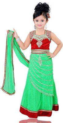 Mint Solid Girl's Lehenga, Choli and Dupatta Set