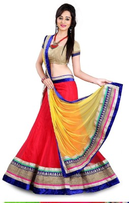 FastColors Georgette Embroidered Semi-stitched Lehenga Choli Material