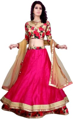 Fabfirki Fashion Hub Self Design Women's Lehenga, Choli and Dupatta Set